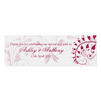 White Red Vintage Floral Wedding Favour Tags Double-Sided Mini Business Cards (Pack Of 20)
