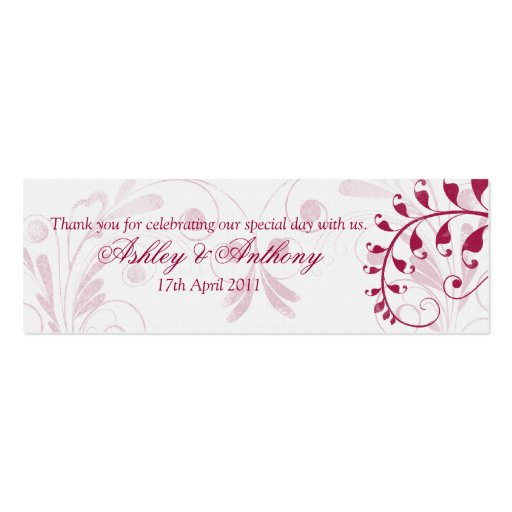 White Red Vintage Floral Wedding Favour Tags Business Card