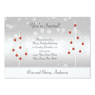 White Red Xmas Trees on Silver Holiday Party Card 13 Cm X 18 Cm Invitation Card
