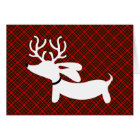 White Reindeer Dachshund on Plaid Card