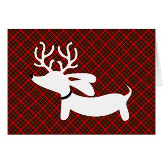 White Reindeer Dachshund on Plaid Card