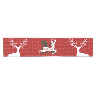 White Reindeer Deck the Halls Monogram Short Table Runner