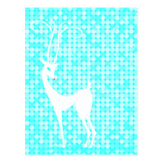 White Reindeer on Icy Blue Winter Postcard