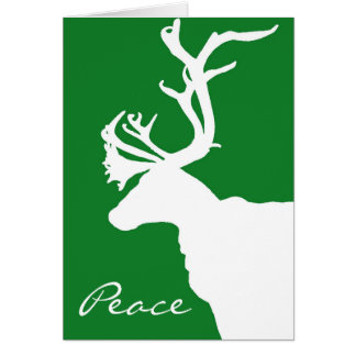 White Reindeer Peace Card