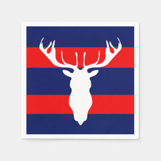 White Reindeer Silhouette Red Navy Blue Stripes Disposable Napkin
