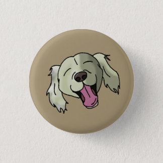 White Retriever Smiling 3 Cm Round Badge