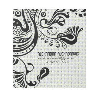 White Retro Abstract Phoenix Bird-Monogram Notepad
