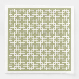 White Retro Chic Squares Pattern On Olive Green Disposable Napkins