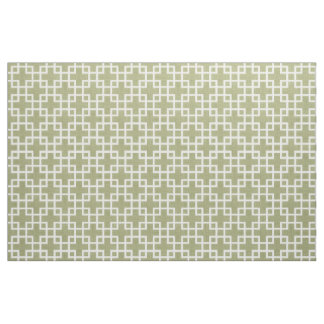 White Retro Chic Squares Pattern On Olive Green Fabric