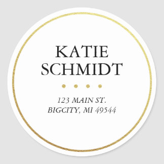 White Return Address Label with Faux Gold Foil Round Sticker