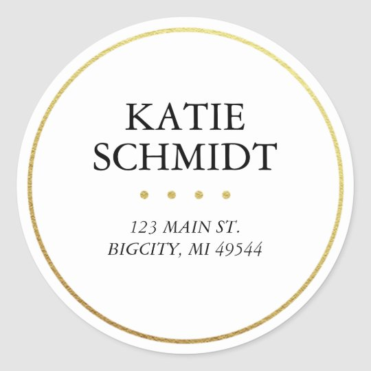White Return Address Label With Faux Gold Foil Round