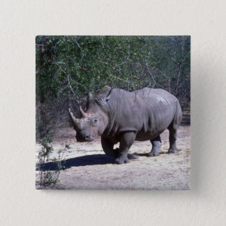 White Rhino 15 Cm Square Badge