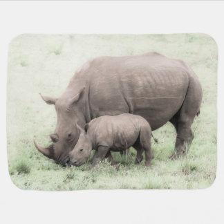 White Rhino & Baby- Baby Blanket