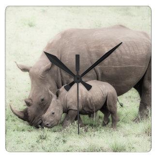 White Rhino & Baby Clock