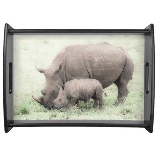 White Rhino & Baby Serving Tray