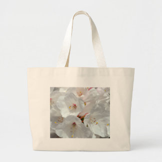White rhododendron flowers in spring bags