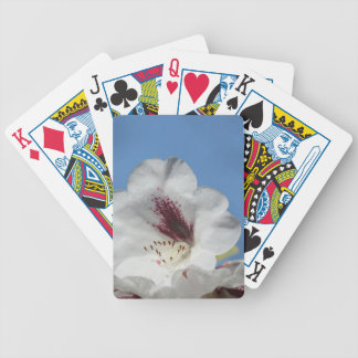 White Rhododendron with Burgundy Bicycle Playing Cards