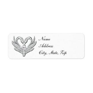 White Ribbon Silver Swans Address Labels