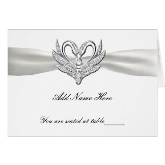 White Ribbon Silver Swans Folded Table Place Card