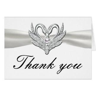 White Ribbon Silver Swans Thank You Card