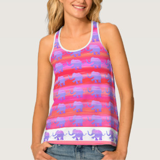 White Rim Stripes and Elephants Purple and Red Singlet