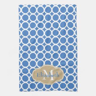 White Rings on Coastal Blue Monogram Tea Towel