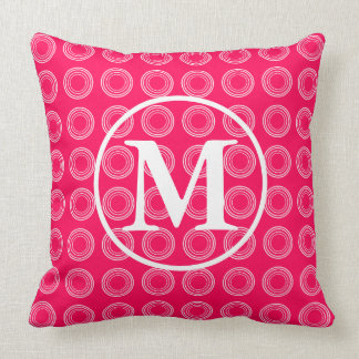 White Rings on Summer Pink Monogram Throw Pillow