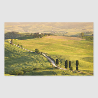 White road in Tuscany landscape rectangle sticker