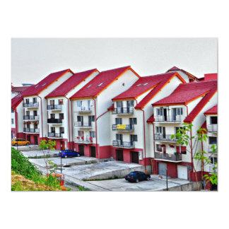 White romanian flats personalized invite