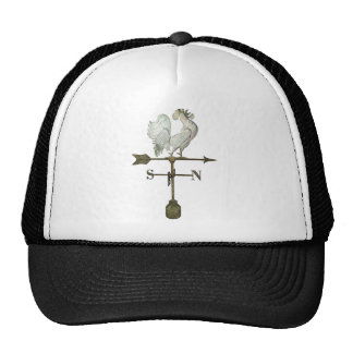 White Rooster Mesh Hats