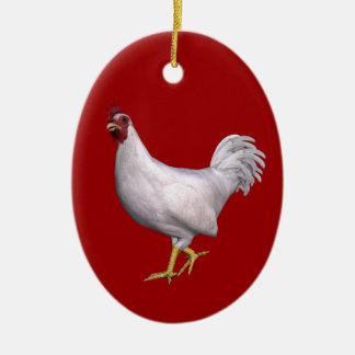 White Rooster Ceramic Ornament