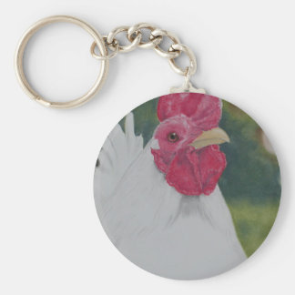 White Rooster Key Ring
