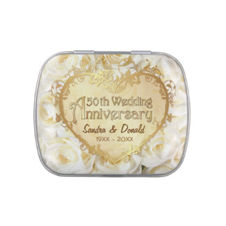 White Rose 50th Wedding Anniversary - Customize Jelly Belly Tin