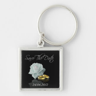 White Rose and Golden Rings Save the Date Keychain