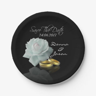 White Rose and Golden Rings Save the Date Plate 7 Inch Paper Plate