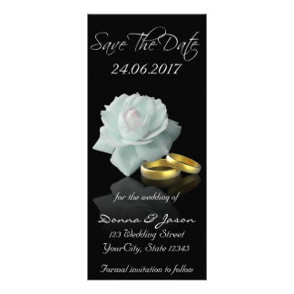 White Rose and Golden Rings Save the Date Rackcard Rack Card