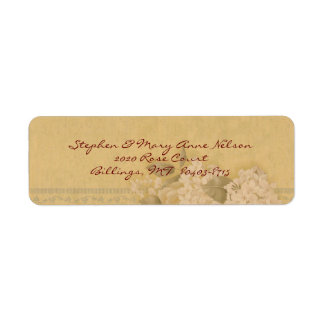 White Rose and Hydrangea Return Address Label