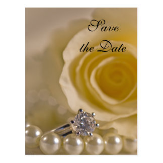 White Rose and Pearls Wedding Save the Date Postcard
