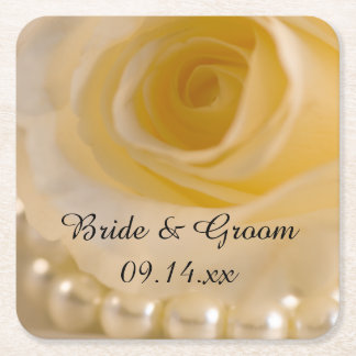 White Rose and Pearls Wedding Square Paper Coaster