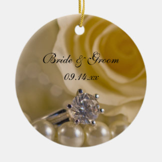 White Rose and Pearls Will You Be My Bridesmaid Ceramic Ornament