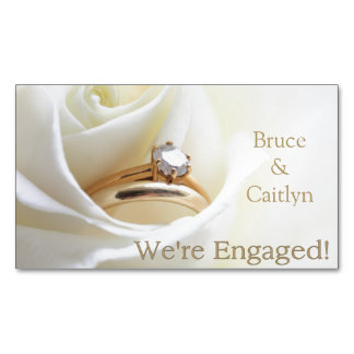 white rose and rings engagement announcement magnetic business cards