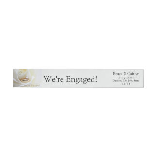 white rose and rings engagement announcement wraparound return address label