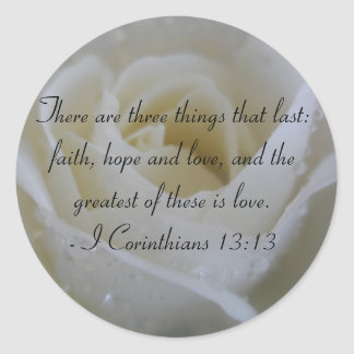 White Rose Bible Verse from Corinthians Stickers