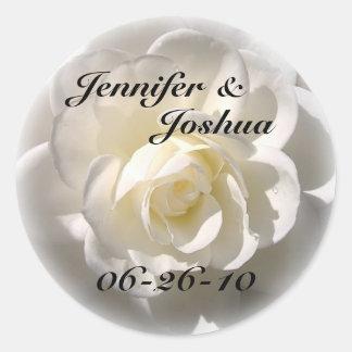 WHITE Rose - Bride & Groom Wedding Envelope Seal Round Sticker