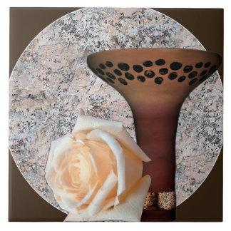 White Rose Brown Vase Granite Back Accent Motif Tile