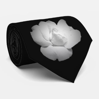 White Rose Bud on Black Tie