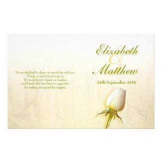 White rose bud wedding programme 14 cm x 21.5 cm flyer