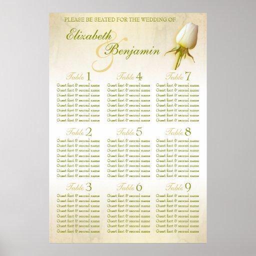 White Rose Bud Wedding Seating Table Planner 1-9 Print