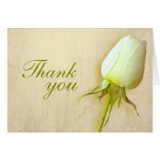White rose bud wedding thank you card landscape