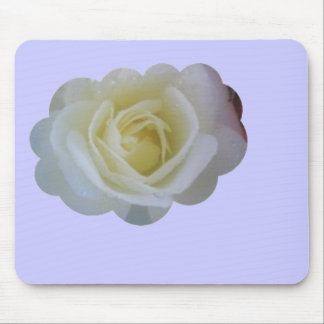White Rose Cloud Mouse Pad